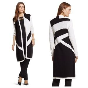 Chico's Black-and-White Blocked Open Cardigan